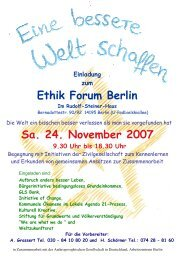 Ethik Forum Berlin Sa. 24. November 2007 - GLS Bank