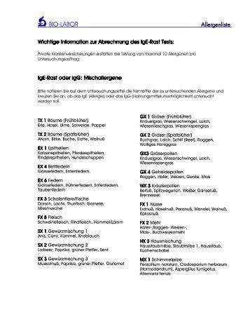 Allergenliste Magazine
