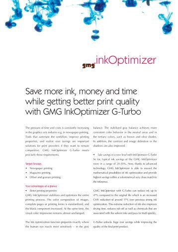 Save more ink, money and time while getting better ... - GMG Color