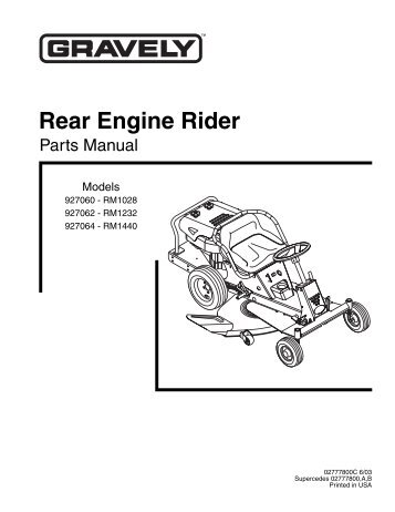 SNAPPER Rear Engine Rider Specs: 2812523BVE Engine: Briggs