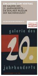 einladung zum vortrag die galerie  des 20. jahrhunderts