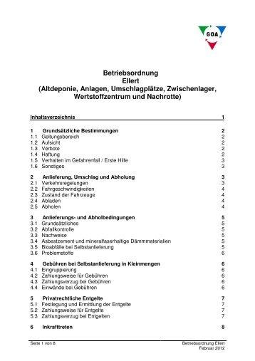 Betriebsordnung Ellert (Altdeponie, Anlagen, Umschlagplätze ...