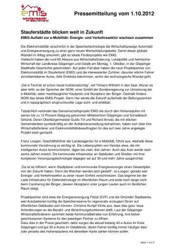 Pressemitteilung vom eilung vom 1.10.2012 - Gesellschaft im ...