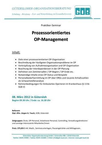 Flyer OP-Management - Gütersloher Organisationsberatung