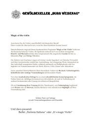 Magic of the violin-Daniela Reimertz - Burg · Weisenau
