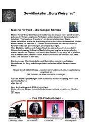 "Gewölbekeller ""Burg Weisenau"" Maxine Howard – die Gospel Stimme"
