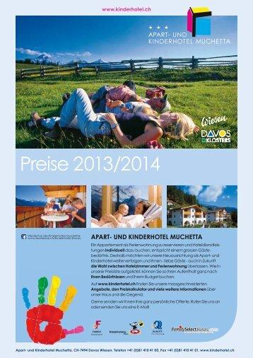 Kinderhotel Muchetta Wiesen Davos - Preisliste 2013/14