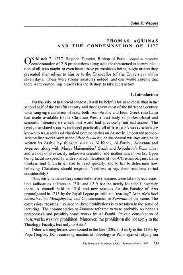 Thomas Aquinas and the Condemnation of 1277 - Journals and Series