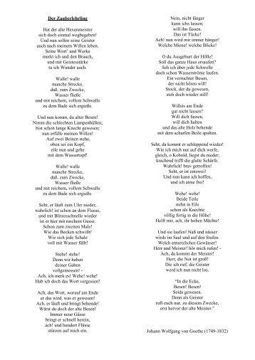 Das gedicht zauberlehrling
