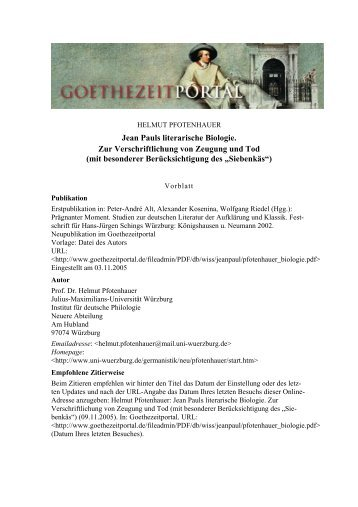 Jean Pauls literarische Biologie. Zur Verschriftung von Zeugung und ...