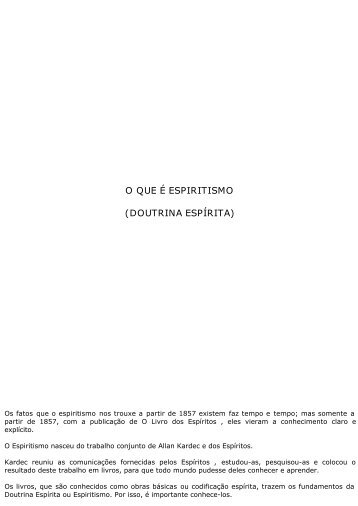 O QUE É ESPIRITISMO (DOUTRINA ESPÍRITA) - cvdee