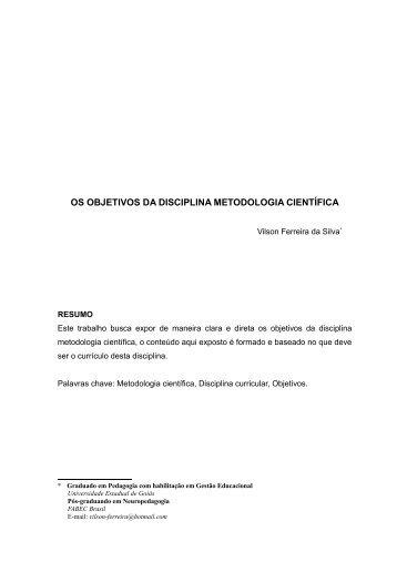 os objetivos da disciplina metodologia científica - Artigo Científico