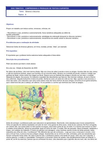 Roteiro de Atividade: Organização textual do discurso narrativo