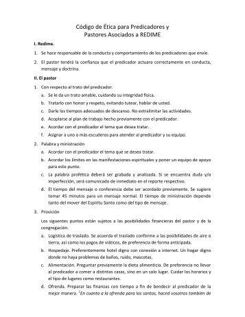 Código de Ética para Predicadores y Pastores Asociados a REDIME
