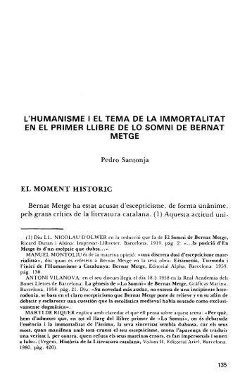 L'HUMANISME I EL TEMA DE LA IMMORTALITAT EN EL ... - RUA