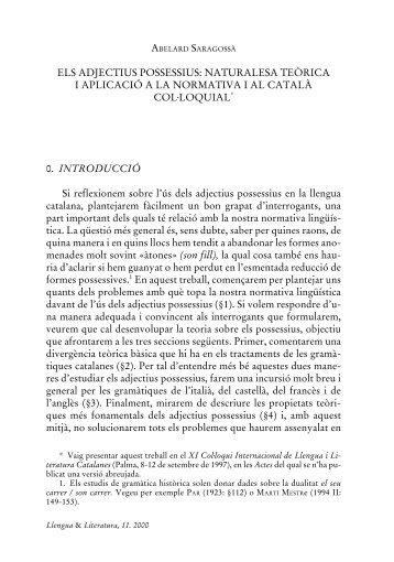 ELS ADJECTIUS POSSESSIUS: NATURALESA TEÒRICA I ... - RACO