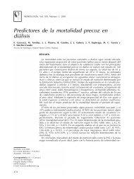 Predictores de la mortalidad precoz en diálisis - Nefrología