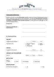 Check-Liste für Seminare: - City Hotel **** Brunnen