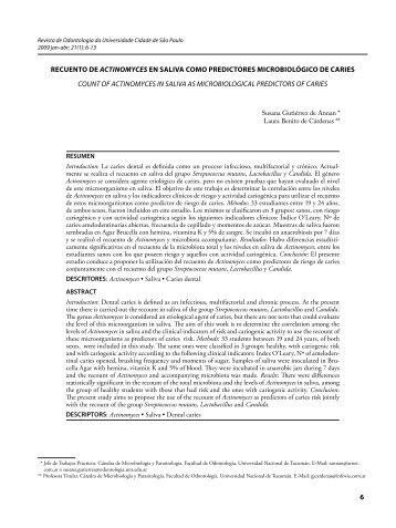 recuento de actinomyces en saliva como predictores