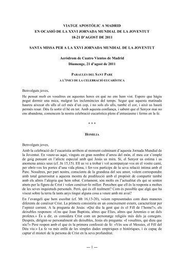 ― 1 ― VIATGE APOSTÒLIC A MADRID EN ... - Bisbat de Girona