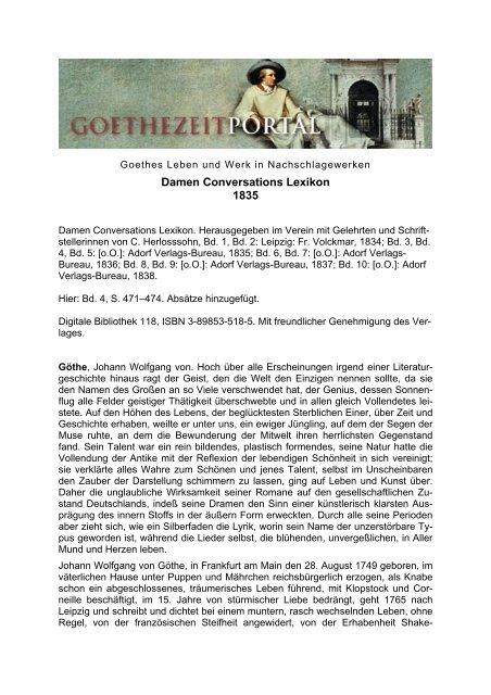 Damen Conversations Lexikon. Artikel Goethe Das
