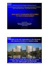 IAEA safety standards applicable to the RTG management