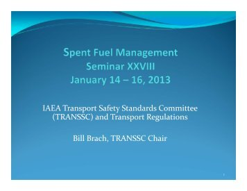 IAEA Transport Safety Standards Committee (TRANSSC ... - RAMPAC