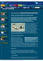 Goethe und seine Zeitgenossen gehen online - Das Goethezeitportal