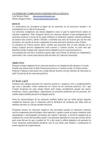 LA TEORIA DE L'AMPLIACIÓ I CONSTRUCCIÓ A L'ESCOLA Laia ...