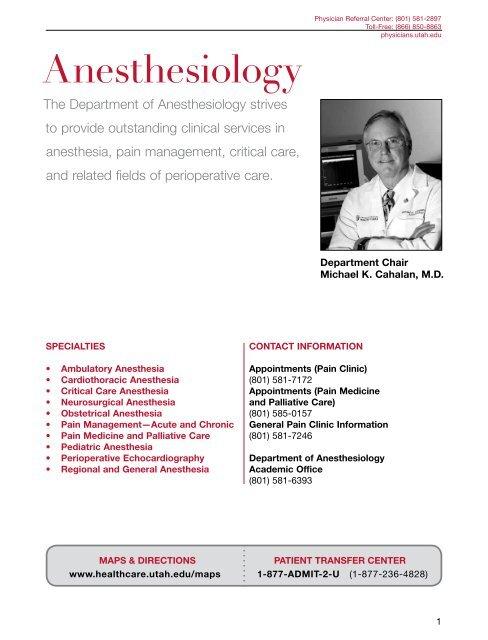 Anesthesiology - University of Utah Health Care