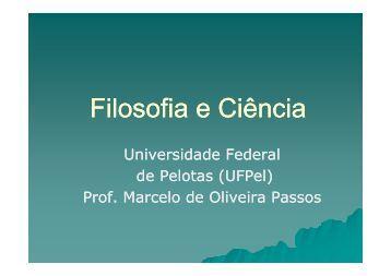 Filosofia e Ciência - Instituto de Ciências Humanas - Universidade ...