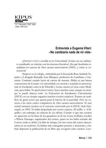 Entrevista a Eugenia Viteri - Repositorio UASB-Digital
