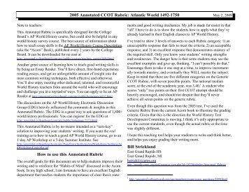 history comparative essay rubric