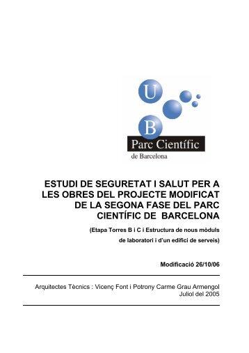 Estudi de Seguretat i Salut - Parc Científic de Barcelona - Universitat ...