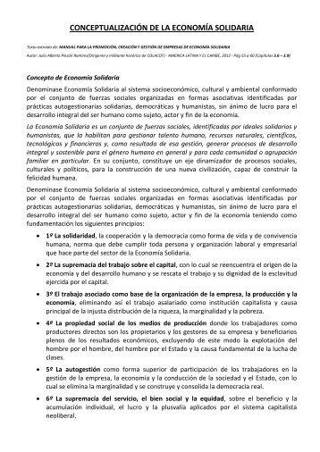 CONCEPTUALIZACIÓN DE LA ECONOMÍA SOLIDARIA - colacot