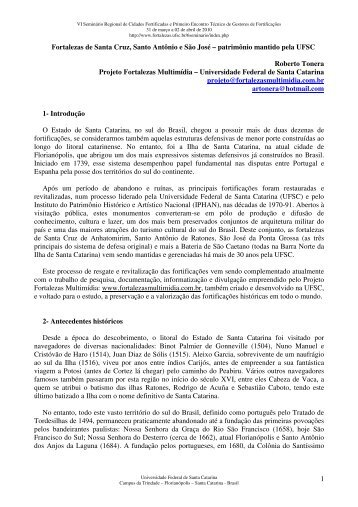 Fortalezas de Santa Cruz, Santo Antônio e São José - Seminário de ...