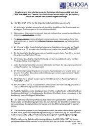 Vereinbarung über die Nutzung der ... - DEHOGA Gastgewerbe NRW