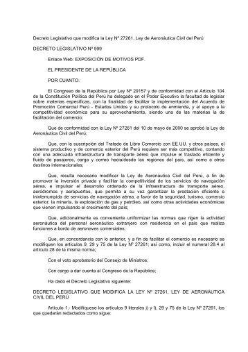 Decreto Legislativo Nº 999 - Ministerio de Transportes y ...