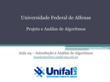 Aula - BCC Unifal-MG - Universidade Federal de Alfenas