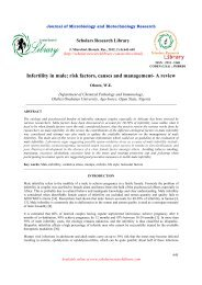 Infertility in male; risk factors, causes and management - Scholars ...
