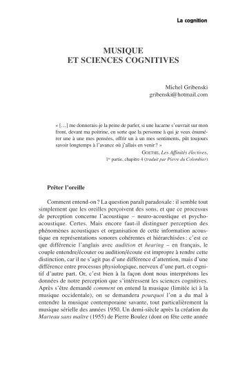 MUSIQUE ET SCIENCES COGNITIVES - Labyrinthe
