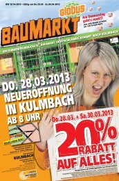 20RABATT % Do.28.03. + Sa.30.03.2013 - Globus Baumarkt