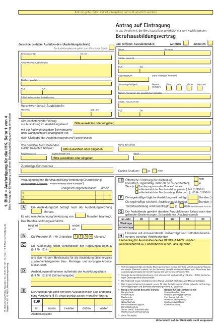 Ausbildungsvertrag Muster Kostenlose Vorlage Als Download