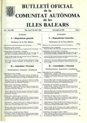 Núm. 1, de 26 de juliol de 1983 - Parlament de les Illes Balears