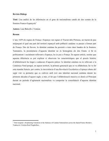1 Revista Diàlegs Títol: Una anàlisi de les diferències ... - Laia Balcells