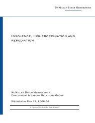 INSOLENCE, INSURBORDINATION AND REPUDIATION - McMillan