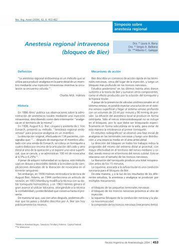 Anestesia regional intravenosa (bloqueo de Bier)