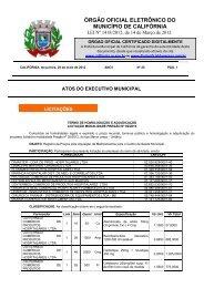 ÓRGÃO OFICIAL ELETRÔNICO DO MUNICÍPIO DE CALIFÓRNIA