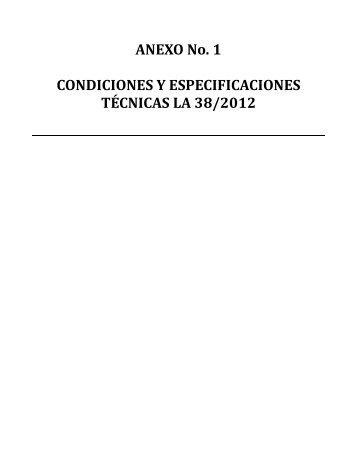 condiciones y especifiaciones tecnicas de licitacion abierta dr