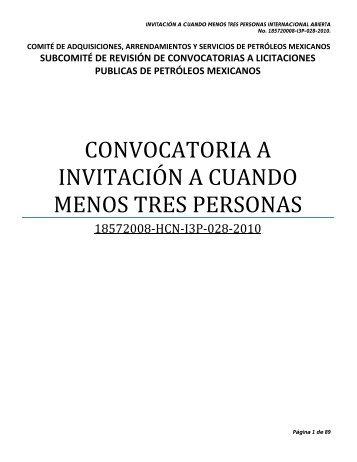 convocatoria a invitación a cuando menos tres personas - PEMEX